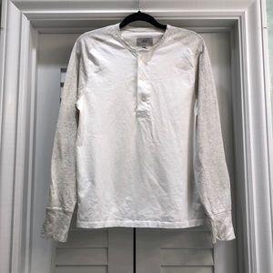 Men's White and Gray Jack Spade Long Sleeve Shirt